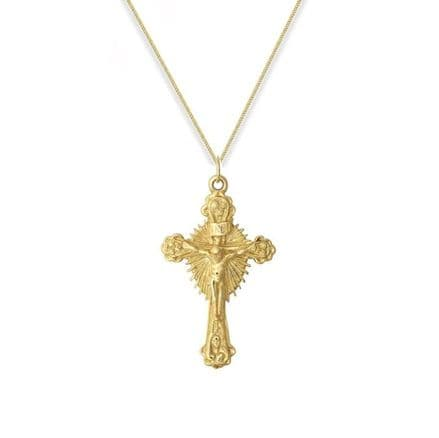 9ct Yellow Gold 7g Casted Crucifix Cross Pendant