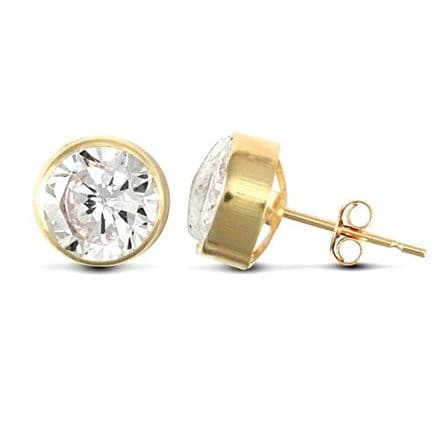 9ct Yellow Gold 7mm Rubover Set Cubic Zirconia Stud Earrings
