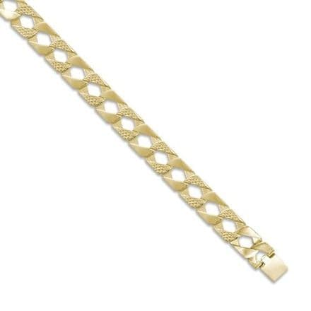 9ct Yellow Gold 8 Inch 10mm Plain & Snake Patterned Curb Bracelet