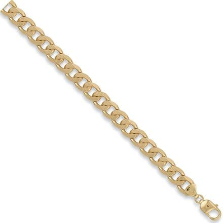9ct Yellow Gold 8 Inch 10mm Solid Curb Bracelet