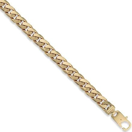 9ct Yellow Gold 8 Inch 10mm Tight Link Solid Curb Bracelet