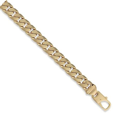 9ct Yellow Gold 8 Inch 14mm Tight Link Solid Curb Bracelet