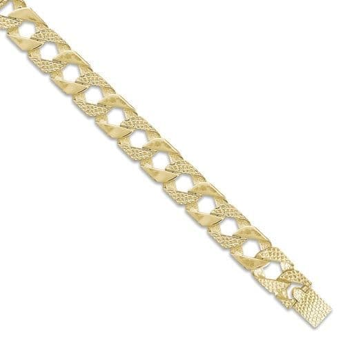 9ct Yellow Gold 8 Inch 15mm Plain & Snake Patterned Curb Bracelet