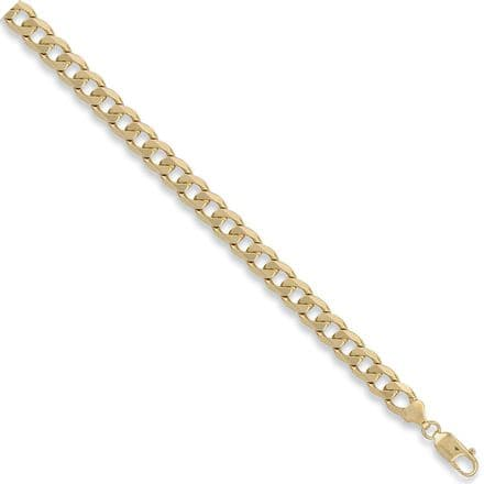 9ct Yellow Gold 8 Inch 8.5mm Solid Curb Bracelet