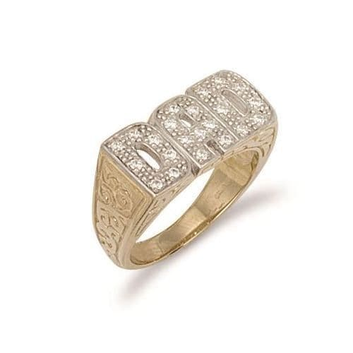9ct Yellow Gold 8.0g CZ Patterned Sides Dad Ring