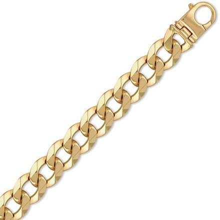 9ct Yellow Gold 9 Inch 20mm Heavy Weight Solid Curb Bracelet