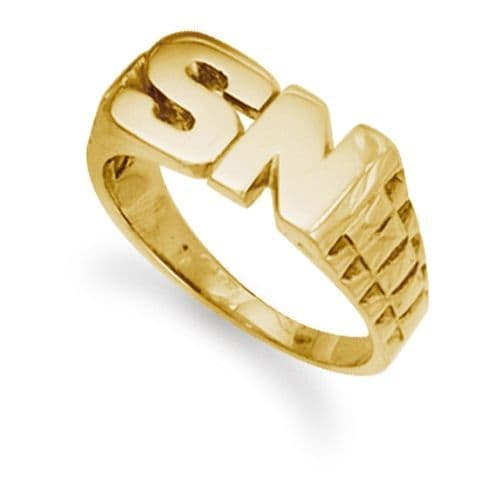 9ct Yellow Gold 9.0g Brick Link Initial Ring