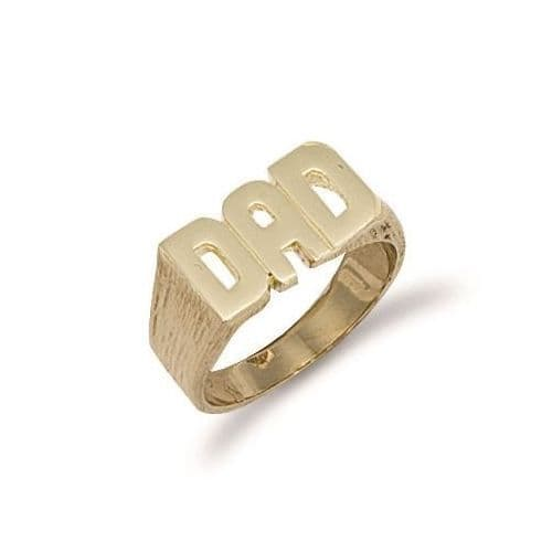 9ct Yellow Gold 9g Barked Sides Dad Ring