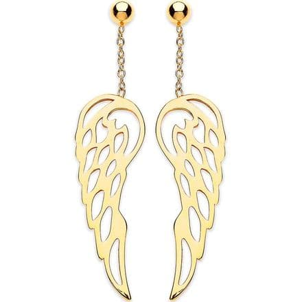 9ct Yellow Gold Angel Wing Cut Out Drop Earrings