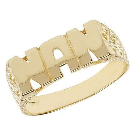 9ct Yellow Gold Basket Sides Nan Ring