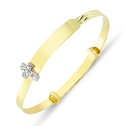 9ct Yellow Gold Childrens Expandable Bangle with CZ Cross