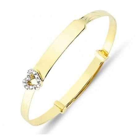 9ct Yellow Gold Childrens Expandable Bangle with CZ Heart