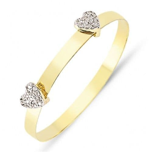9ct Yellow Gold Childrens Expandable Bangle with CZ Hearts