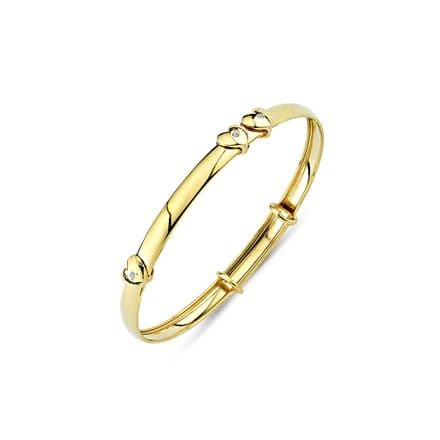 9ct Yellow Gold Childrens Expandable Bangle with Floating CZ Heart