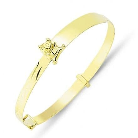 9ct Yellow Gold Childrens Expandable ID Bangle with Teddy Bear