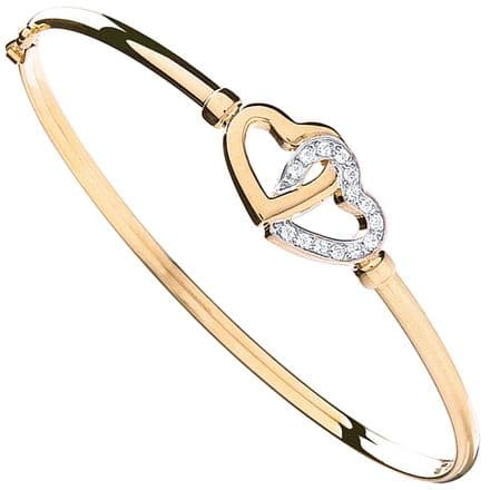 9ct Yellow Gold Cubic Zirconia Double Heart Linked Bangle