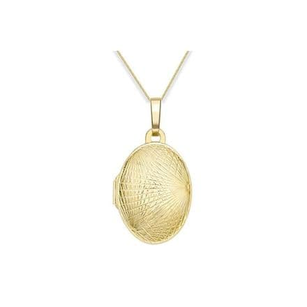 9ct Yellow Gold Fancy Embossed Oval Locket
