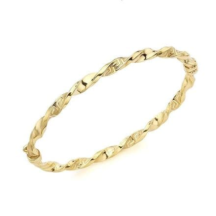 9ct Yellow Gold Grecian Detail Twist Bangle