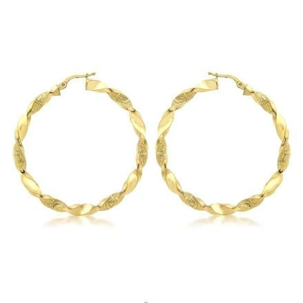9ct Yellow Gold Grecian Detail Twist Creole Earrings