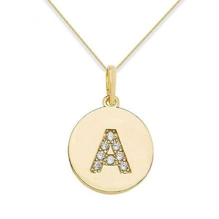 9ct Yellow Gold Initial CZ Round Pendant