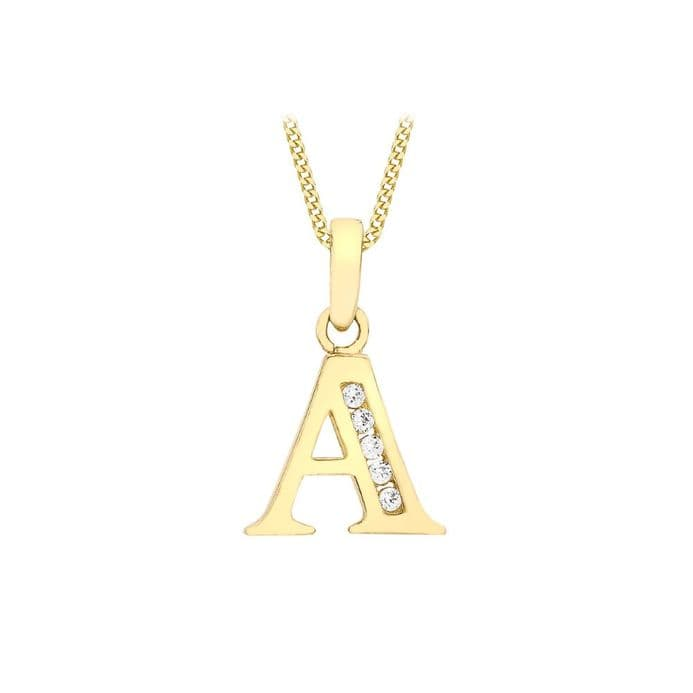 9ct Yellow Gold Initial CZ Set Letter Pendant