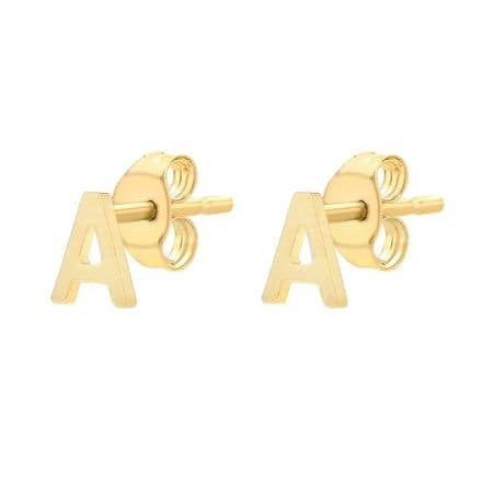 9ct Yellow Gold Initial Stud Earrings