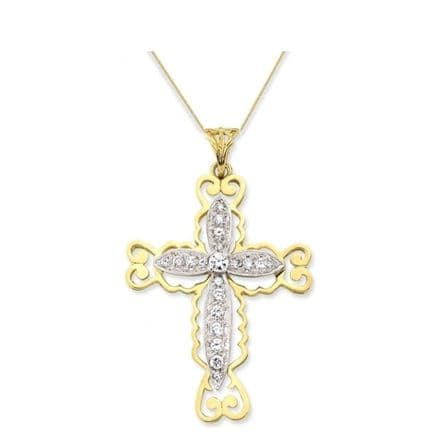 9ct Yellow Gold Large Fancy Pave Set Cubic Zirconia Cross