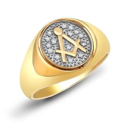 9ct Yellow Gold Masonic 10pt Diamond Swivel Oval Signet Ring