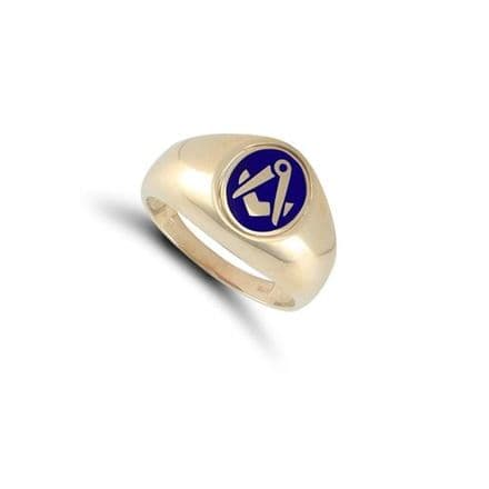 9ct Yellow Gold Masonic Blue Enamel Swivel Oval Signet Ring
