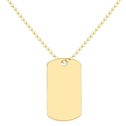9ct Yellow Gold On Ball Chain Dog Tag