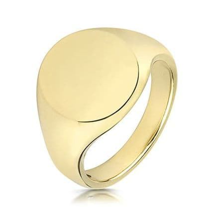 9ct Yellow Gold Oval 12g Plain Signet Ring
