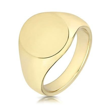 9ct Yellow Gold Oval 15g Plain Signet Ring