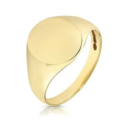 9ct Yellow Gold Oval 4g Plain Signet Ring