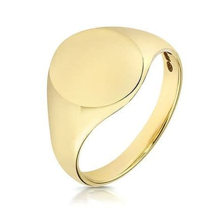 9ct Yellow Gold Oval 6g Plain Signet Ring