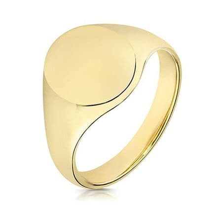9ct Yellow Gold Oval 9g Plain Signet Ring