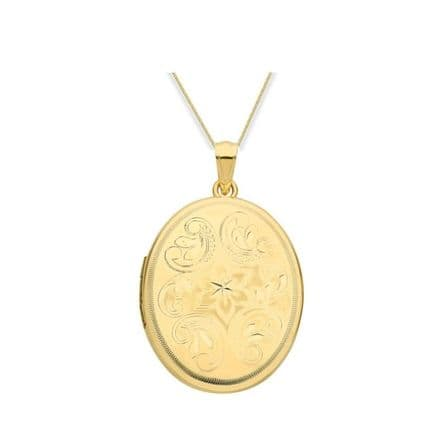 9ct Yellow Gold Oval Engraved Pattern Locket