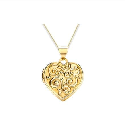 9ct Yellow Gold Scroll Embossed Heart Locket