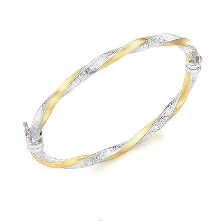 9ct Yellow Gold & White Gold Grecian Detail Twist Satin Bangle