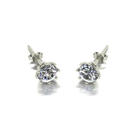 Forever One Moissanite 18ct White Gold 1.00 Carat Eight Claw Solitaire Earrings