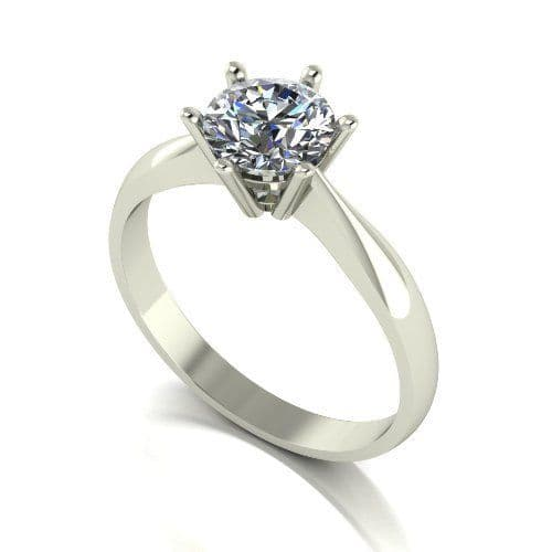 Forever One Moissanite 18ct White Gold 1.00 Carat Round Brilliant Solitaire Ring