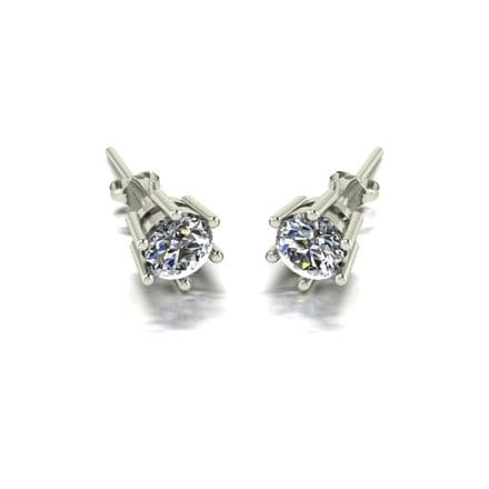 Forever One Moissanite 18ct White Gold 1.00 Carat Six Claw Solitaire Earrings