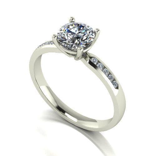 Forever One Moissanite 18ct White Gold 1.10 Carat Four Claw Shoulder Set Ring