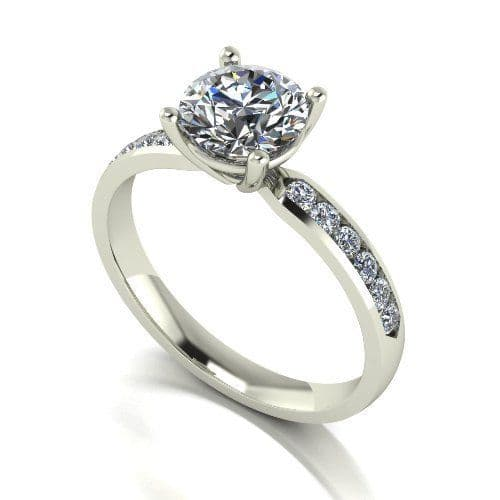 Forever One Moissanite 18ct White Gold 1.50 Carat Four Claw Shoulder Set Ring