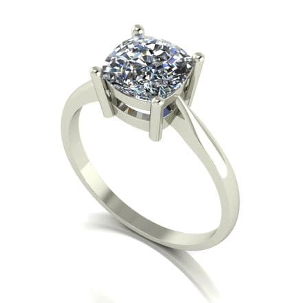 Forever One Moissanite 18ct White Gold 2.00 Carat Cushion Cut Ring