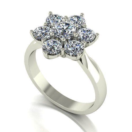Forever One Moissanite 18ct White Gold 2.00 Carat Seven Stone Cluster Ring