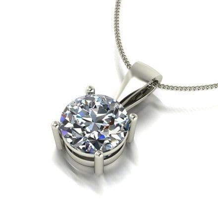 Forever One Moissanite 18ct White Gold 2.00 Carat Single Stone Pendant