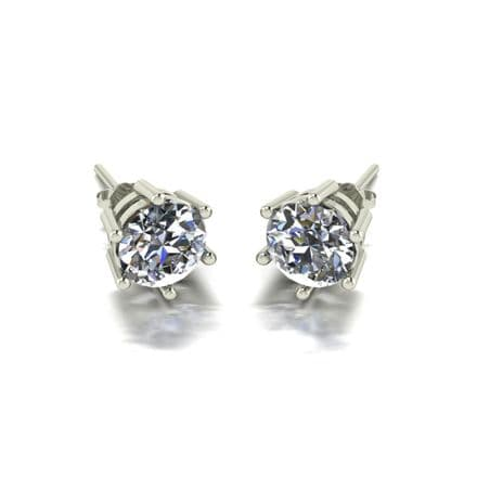 Forever One Moissanite 18ct White Gold 2.00 Carat Six Claw Solitaire Earrings