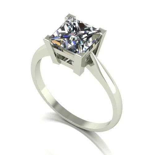 Forever One Moissanite 18ct White Gold 2.00 Carat Square Cut Ring