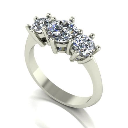 Forever One Moissanite 18ct White Gold 2.00 Carat Trilogy Ring
