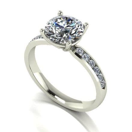 Forever One Moissanite 18ct White Gold 2.30 Carat Four Claw Shoulder Set Ring